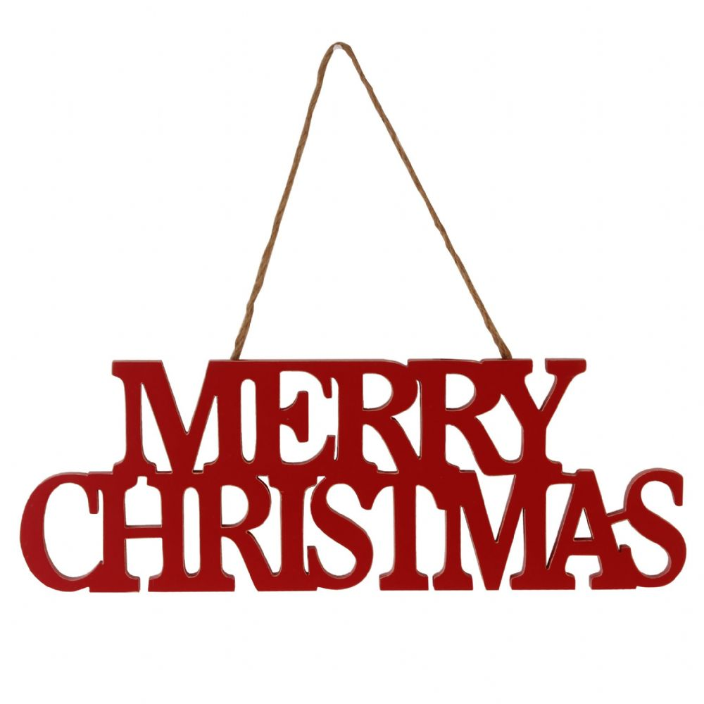 Red Wooden Hanging Merry Christmas Sign Nordic Style